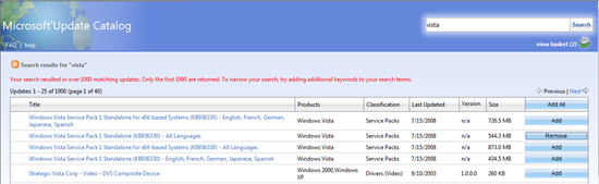 Microsoft Update Catalog for Windows